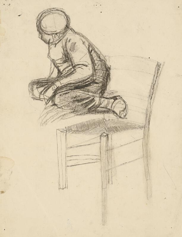 Ladislav Mednyánszky - Štúdia sediaceho chlapca a stoličky
