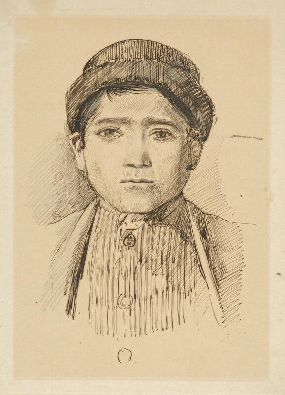 Ladislav Mednyánszky - Portrétna štúdia chlapca v klobúčku