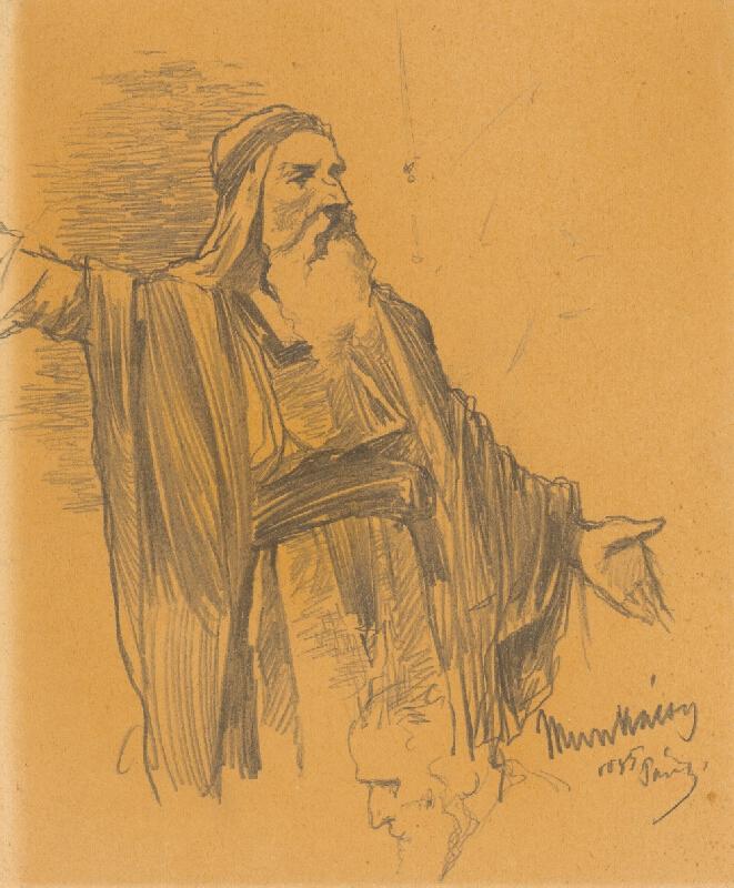 Mihály Munkácsy - Štúdia stojaceho rabína. K obrazu Kristus pred Pilátom