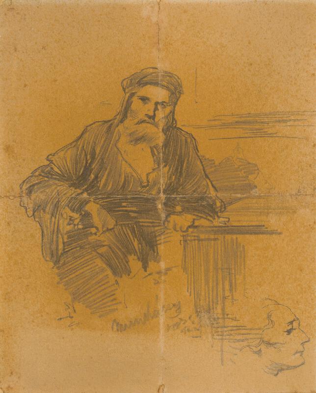 Mihály Munkácsy - Štúdia sediaceho Žida. K obrazu Kristus pred Pilátom