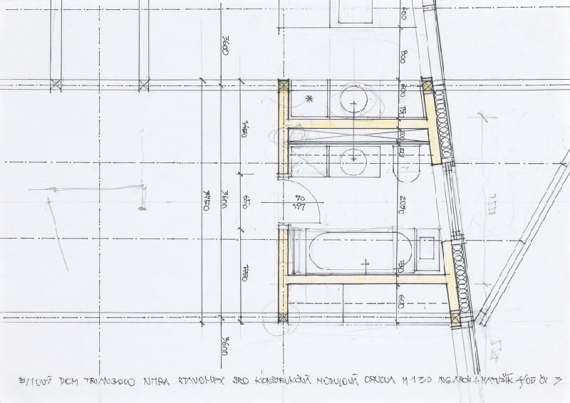 Ivan Matušík - Bytový dom Triangolo v Nitre. Štúdia. Konštrukčná  modulová osnova. M 1:30.