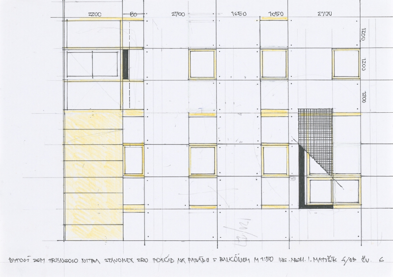 Ivan Matušík - Bytový dom Triangolo v Nitre. Štúdia. Pohľad na fasádu s balkónom. M 1:50.