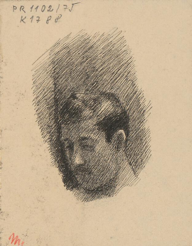 Milan Thomka Mitrovský - Štúdia hlavy muža s krátkymi fúzikmi