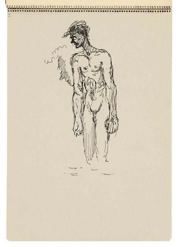 Arnold Peter Weisz-Kubínčan – Skicár 22 Muž stojaci vo vode