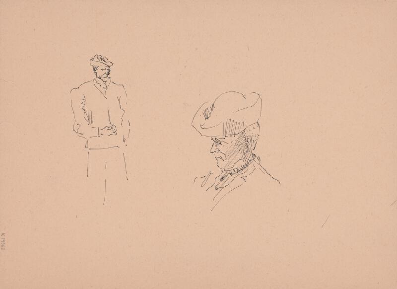 Arnold Peter Weisz-Kubínčan – Lovec a dva psy, Skice mužov