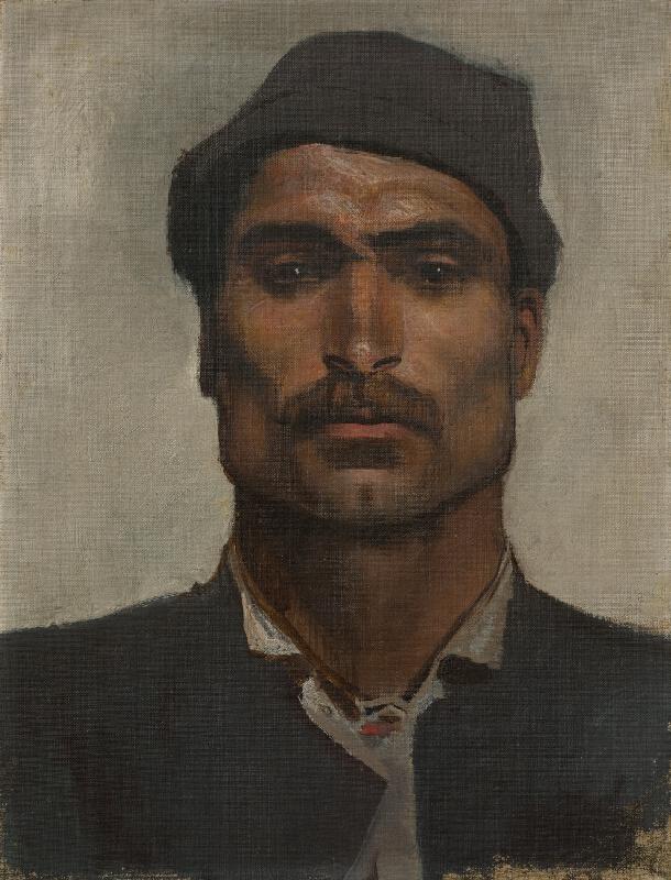 Ladislav Mednyánszky - Hlava muža v klobúčiku s malou strieškou