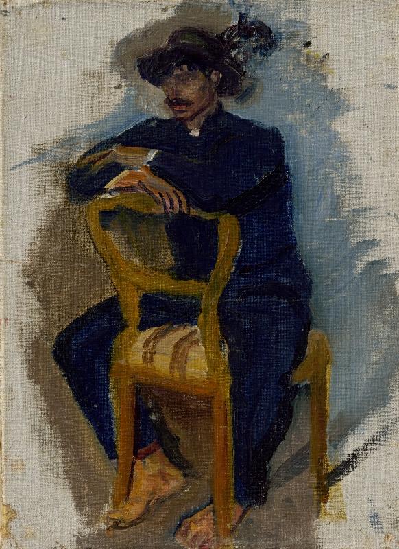 Ladislav Mednyánszky -  Švihák sediaci na stoličke v štýle biedermeier