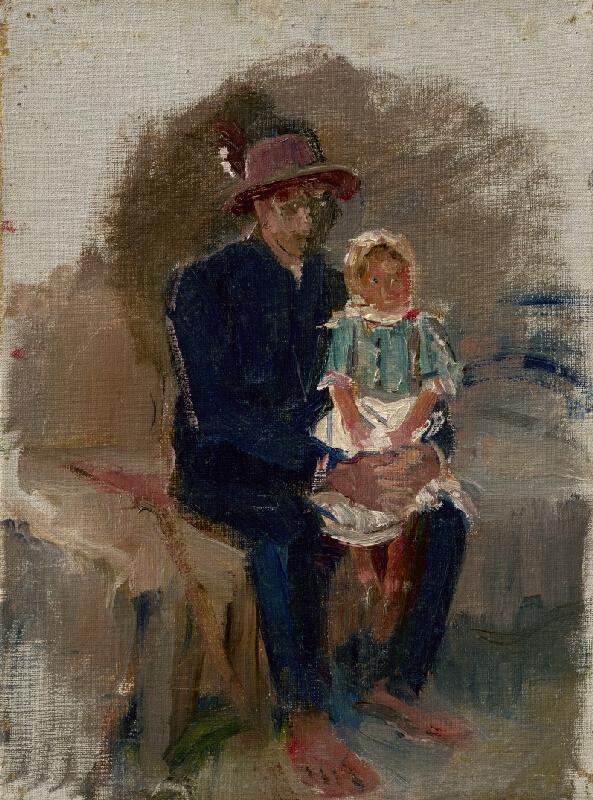 Ladislav Mednyánszky - Sediaci Cigáň s dievčatkom na kolenách