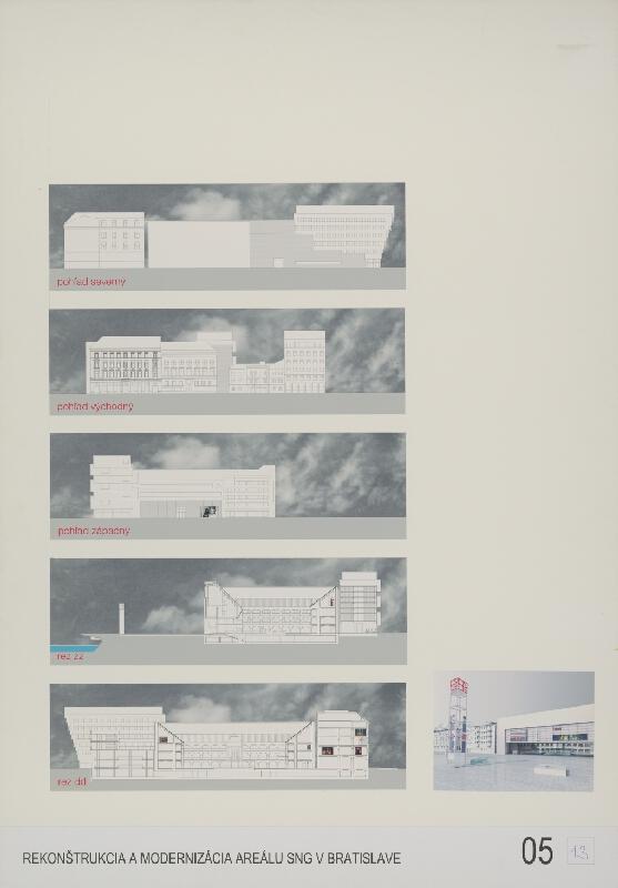 Michal Bogár, Ľubomír Králik, Ľudovít Urban - Súťaž na rekonštrukciu a modernizáciu areálu Slovenskej národnej galérie v Bratislave. Návrh č. 13. Panel č. 5.
