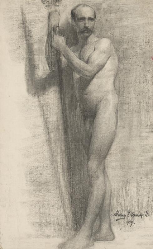 Emil Alexay-Olexák - Štúdia muža opierajúceho sa o palicu