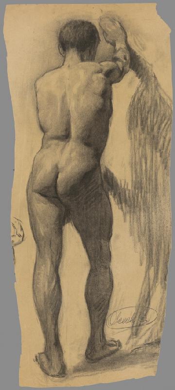 Emil Alexay-Olexák - Štúdia muža opierajúceho sa o stenu