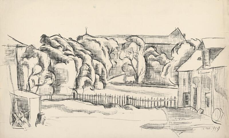 Ernest Zmeták - Štúdia krajiny s domom