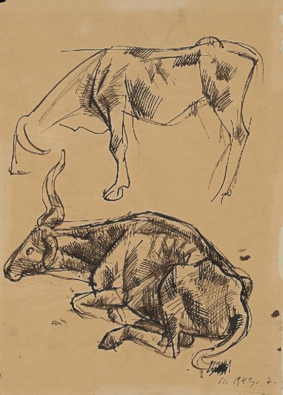 Ernest Zmeták - Štúdia dvoch kráv