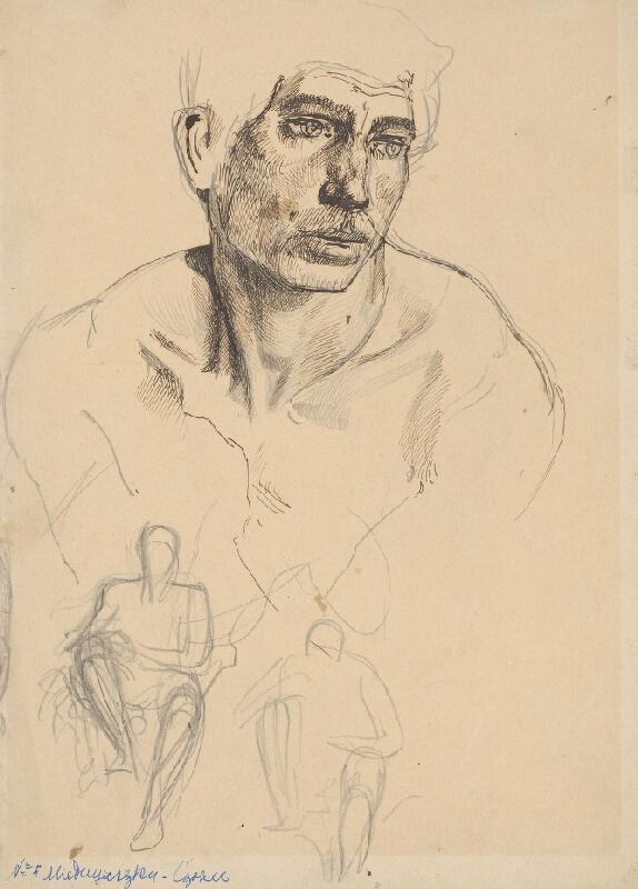 Ladislav Mednyánszky – Štúdia mužskej hlavy a dva náčrty sediacich postáv