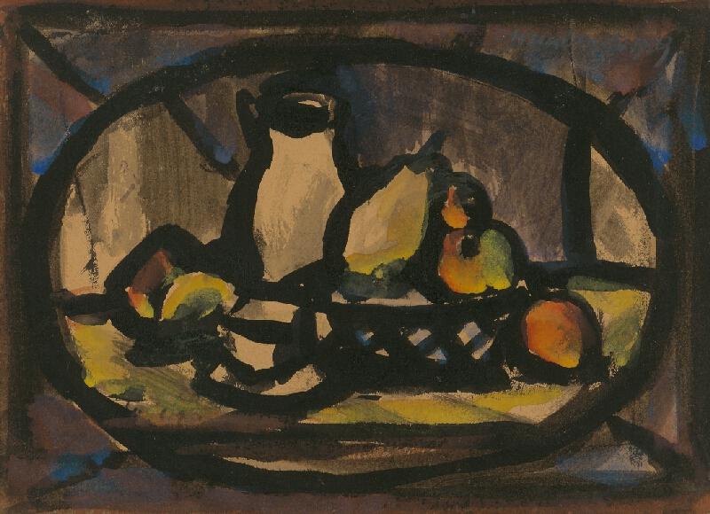 Ján Mudroch - Zátišie s krčahom a ovocím