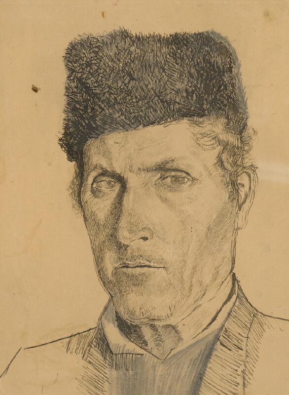 Ladislav Mednyánszky - Hlava muža v baranici