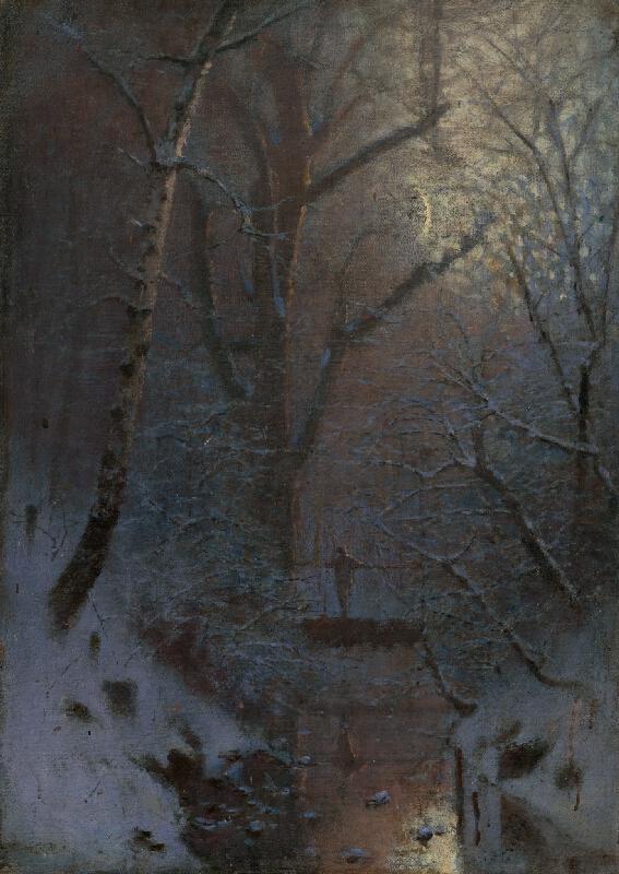 Ladislav Mednyánszky - Zimná noc. Postava na moste
