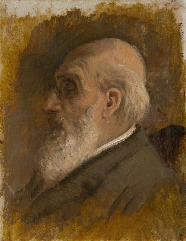 Ladislav Mednyánszky - Profil umelcovho otca s cvikrom.