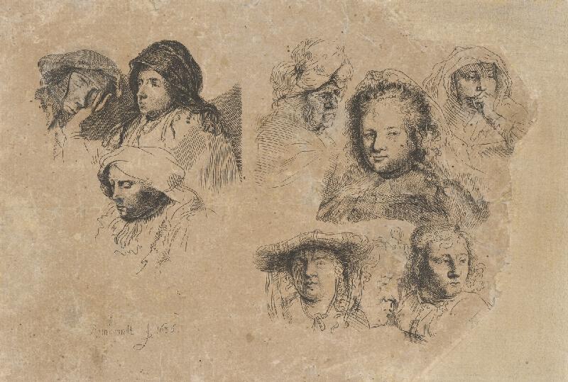 Nizozemský grafik zo 17. storočia - Rembrantovská štúdia -štúdie hláv