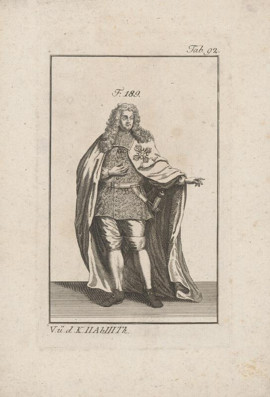 Západoeurópsky autor z 18. storočia - Šlachtic v brokátovom kabáte a plášti