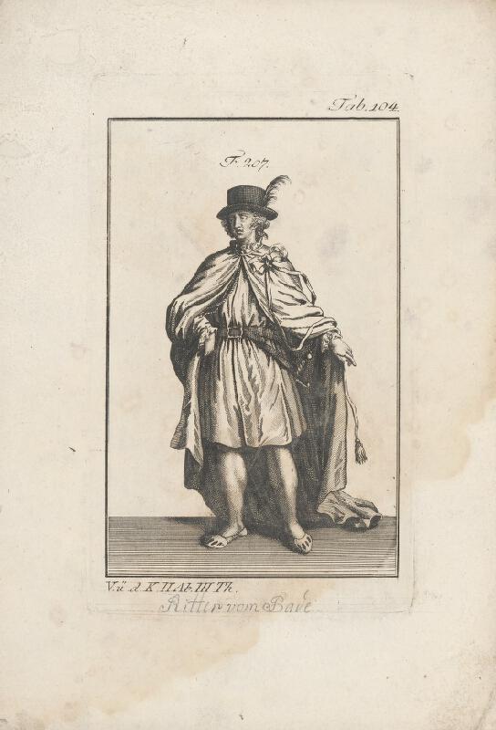 Západoeurópsky autor z 18. storočia - Rytier v klobúku a v plášti so stuhou
