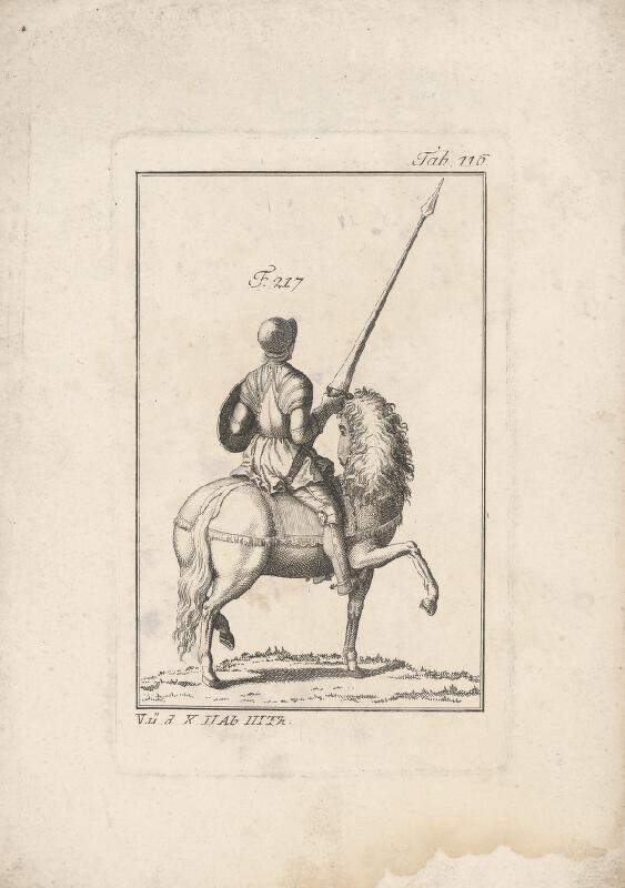 Západoeurópsky autor z 18. storočia - Rytier so širokou kopijou na koni