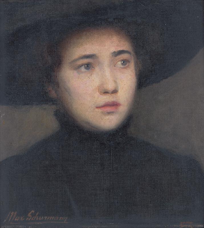 Maximilián Schurmann - Hlava ženy v čiernom klobúku