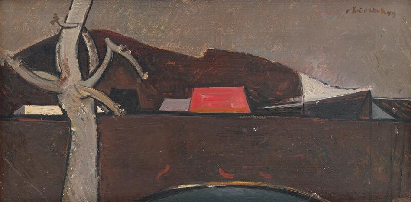 Vincent Hložník - Krajina s červenou strechou