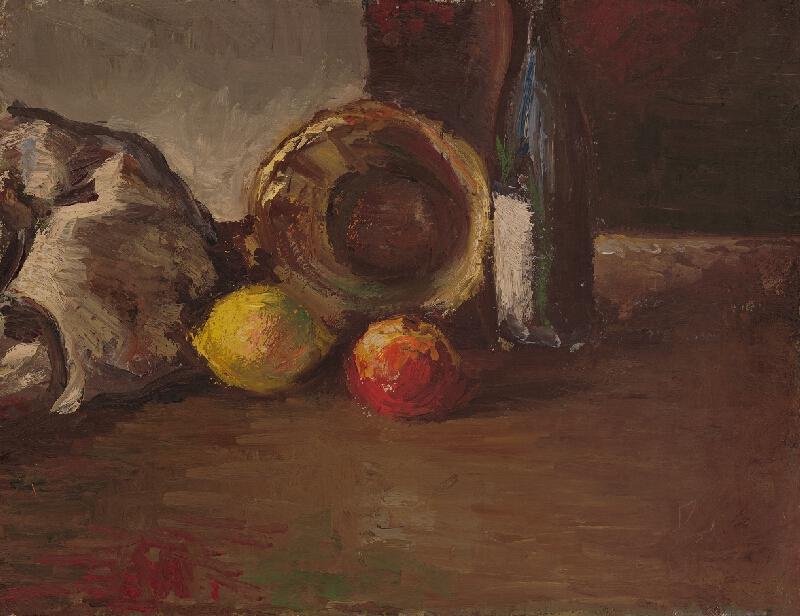 Michal Jakabčic - Zátišie s ovocím a fľašou
