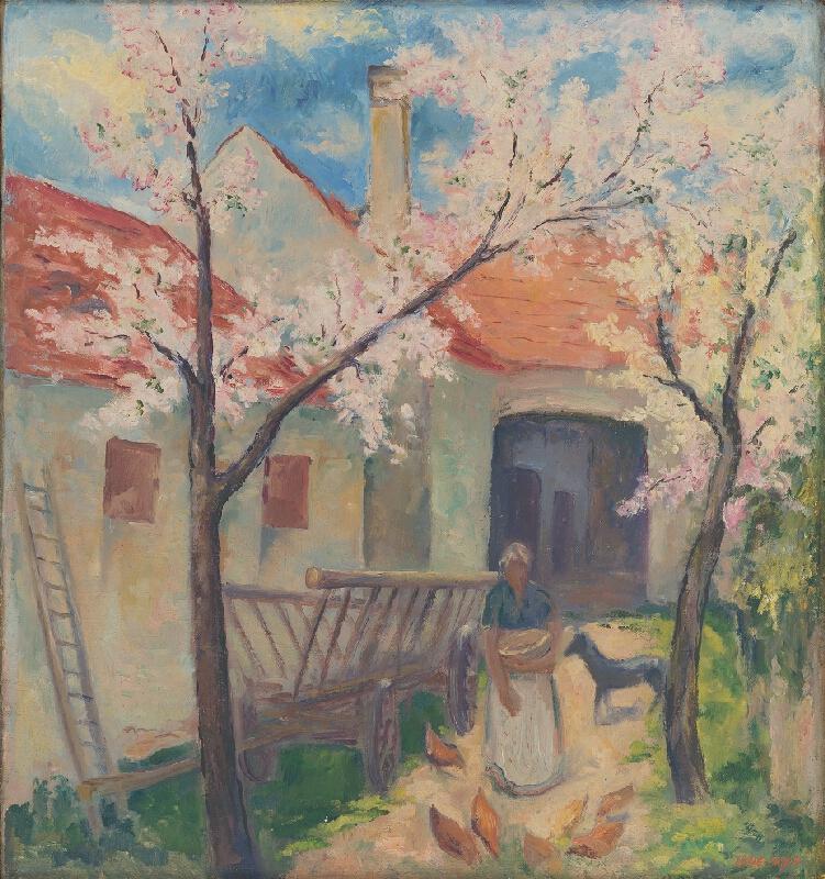 Eugen Lehotský - Dvor s rozkvitnutými stromami
