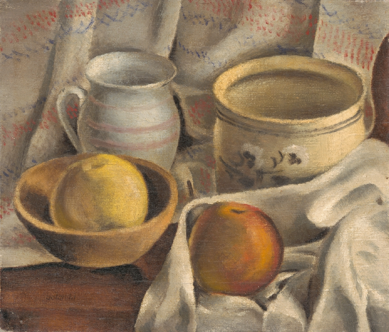 Mikuláš Galanda - Zátišie s keramickými hrncami a jablkami
