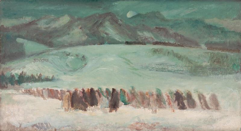 Viliam Chmel - Ústup do hôr - štúdia k obrazu