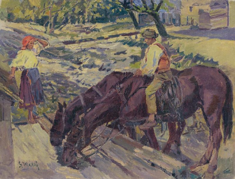 Gustáv Mallý - Napájanie koní