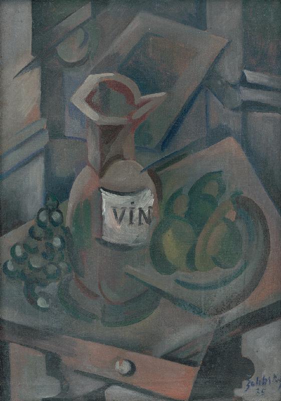 Ján Želibský - Zátišie s krčahom na víno a ovocím
