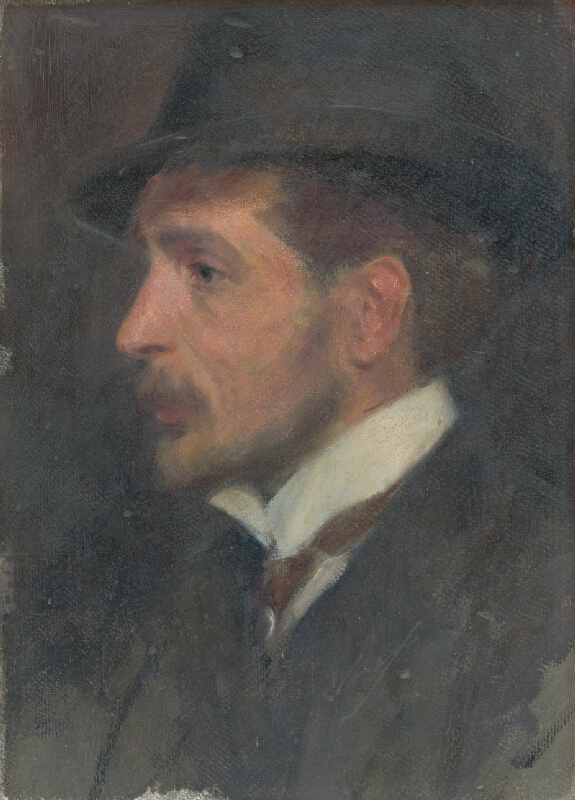 Milan Thomka Mitrovský - Autoportrét ? z profilu v klobúku