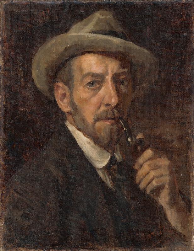 Andor Borúth - Autoportrét s fajkou