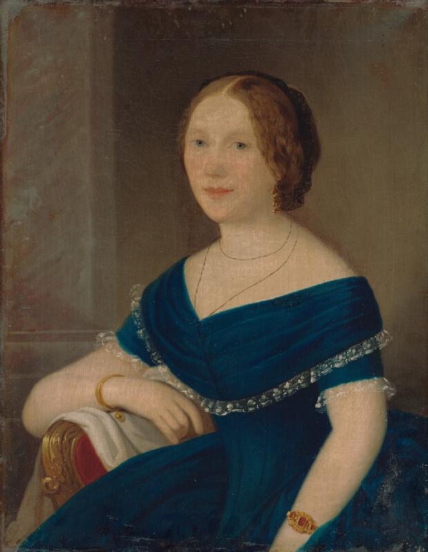 Slovenský maliar z 19. storočia - Portrét dámy v modrom
