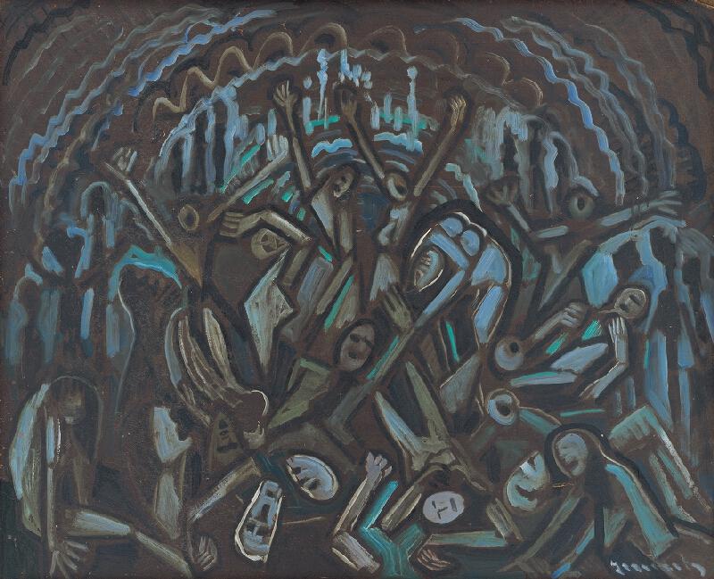 Anton Jasusch - Figurálna kompozícia v modrom