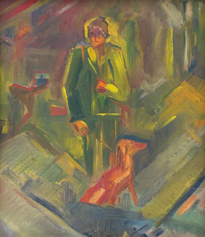 Arnold Peter Weisz-Kubínčan - Stojaci poľovník so psom