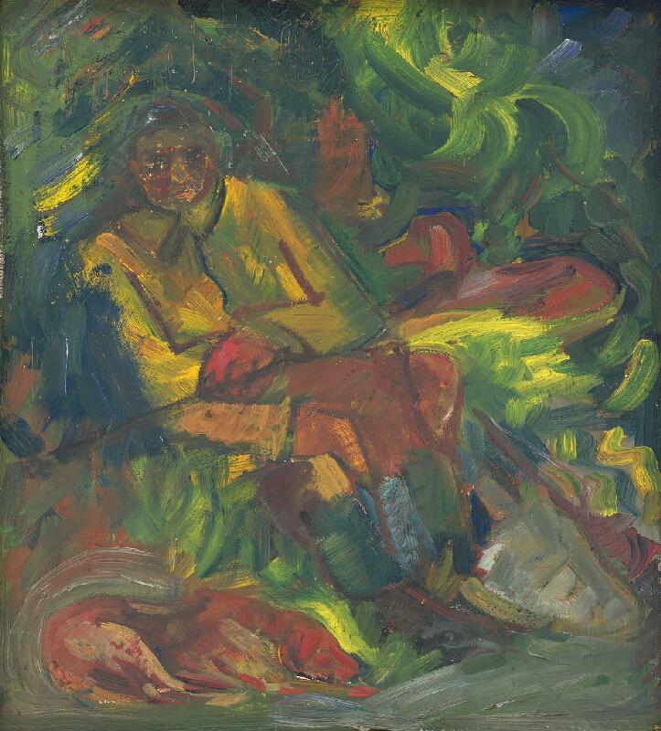 Arnold Peter Weisz-Kubínčan - Odpočívajúci poľovník s dvoma ležiacimi psami