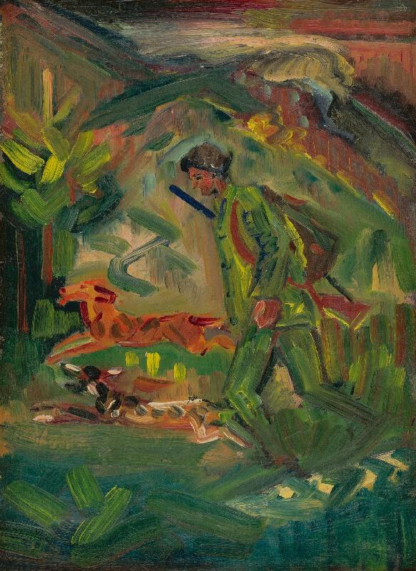 Arnold Peter Weisz-Kubínčan - Kráčajúci poľovník so psami