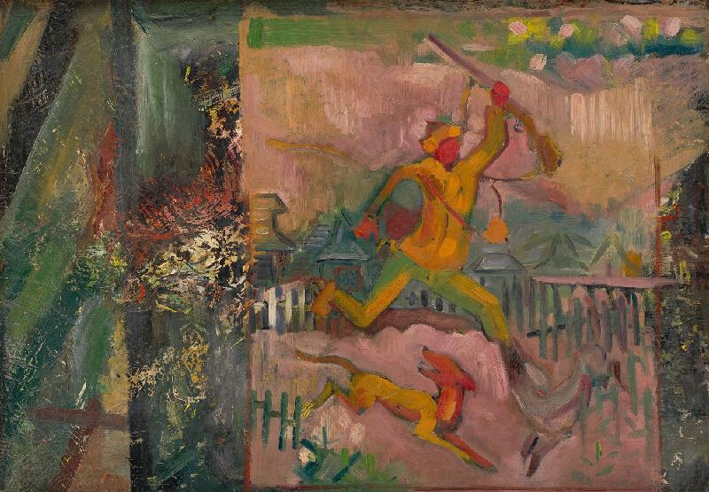 Arnold Peter Weisz-Kubínčan - Utekajúci poľovník s puškou