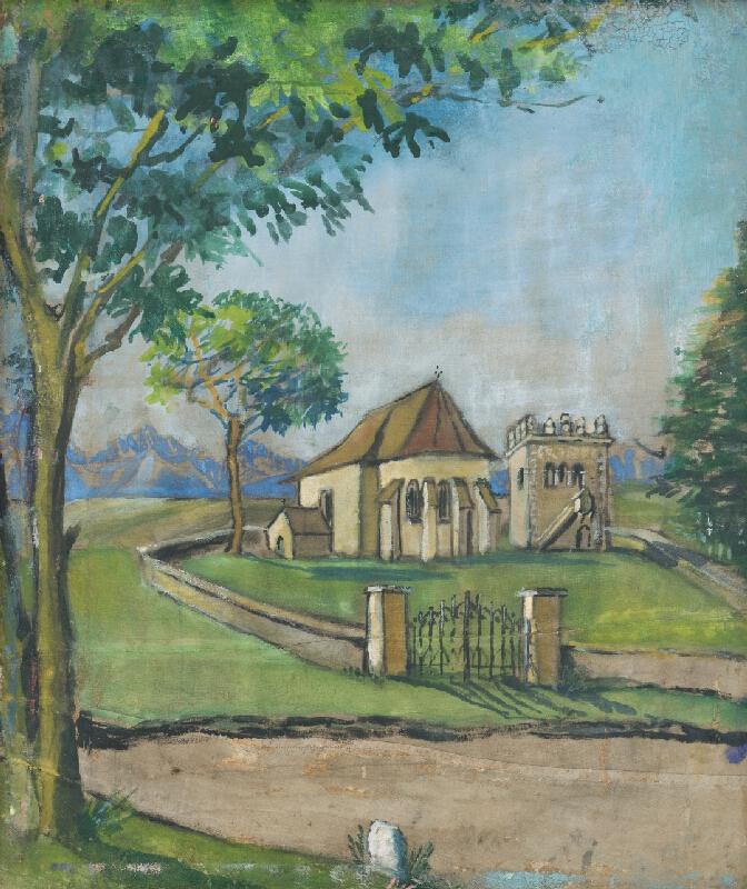 Margita Czóbelová - Pohľad na kostol a zvonicu Strážky