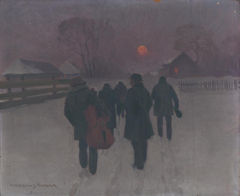 Jozef Theodor Mousson - Muzikanti sa vracajú nad ránom zasneženou krajinou