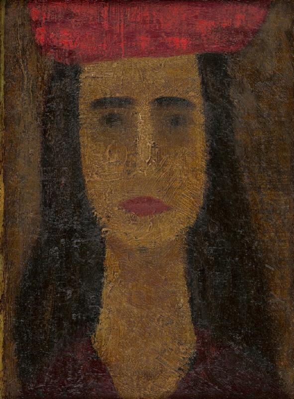 Ervín Semian - Portrét mladej dámy v červenom klobúku