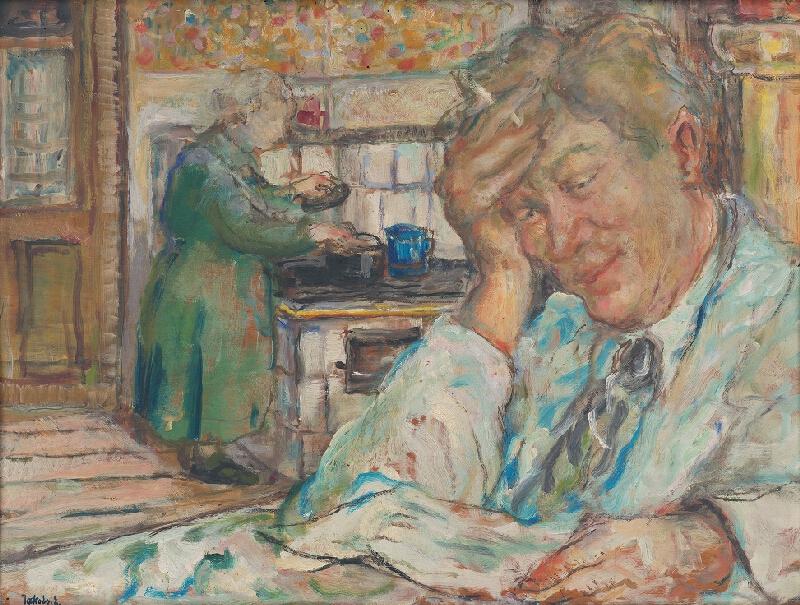 Július Jakoby - Autoportrét s matkou