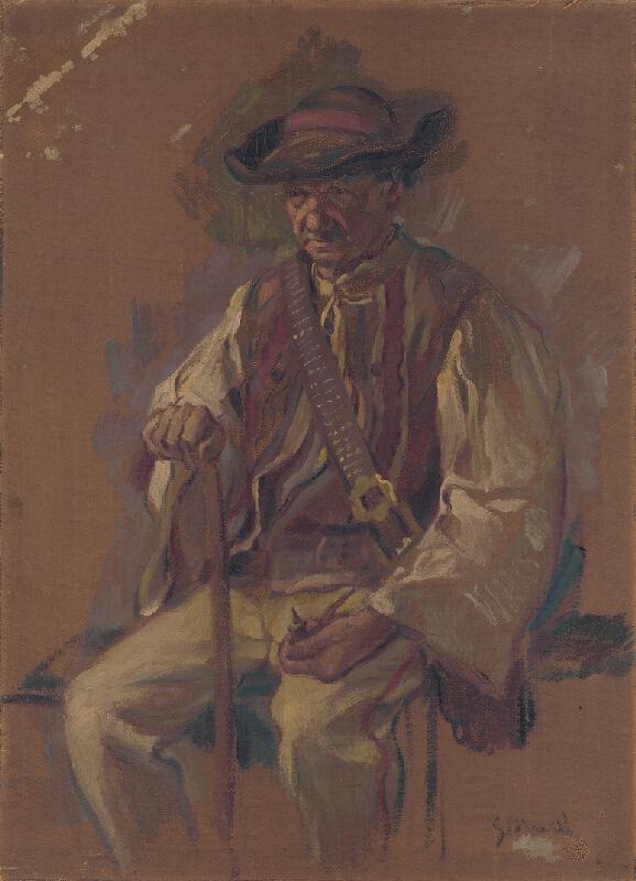Gustáv Mallý - Portrét sediaceho muža v kroji