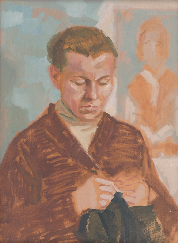 Ervín Semian - Žena s pletením