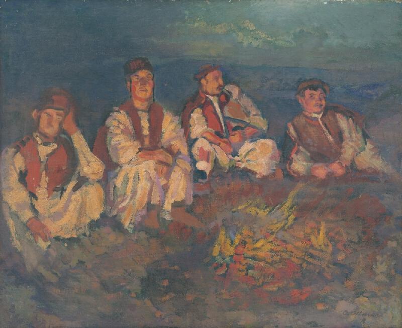 Otto Ottmar - Detvianski pastieri pri ohníčku