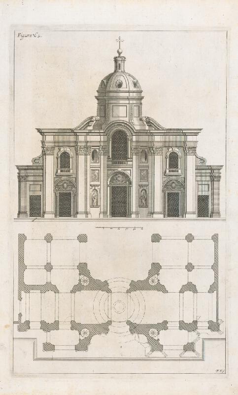 Andrea Pozzo, Giacomo Böemo Komarek - Fig.63. - Projekt a výška v kostole sv.Ignára B.Luigiho v budove Collegio Romaine